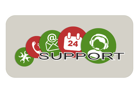 earbud: Set of Icons for Technical Support form a Banner.