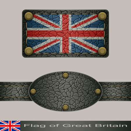 Label of a flag of Great Britain. Set stylized as leather of objects.