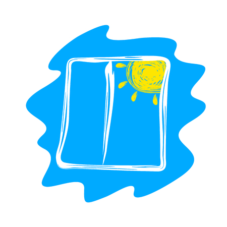 Abstract Window and Sun Drawn on a Blue Background. Ilustração