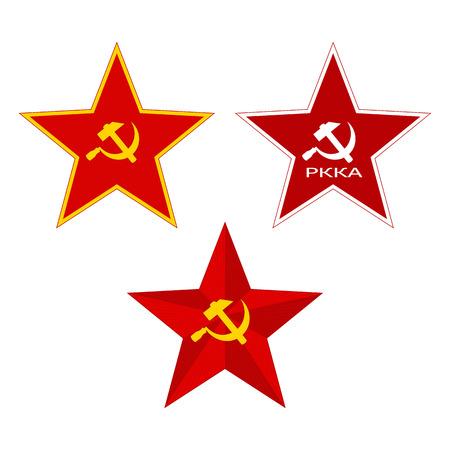 Red Soviet Stars. Set on a white background. Illustration