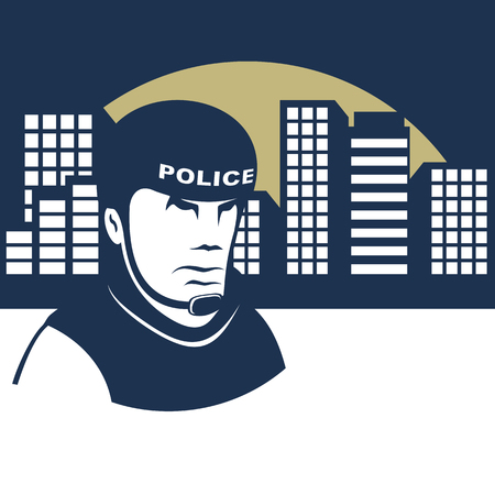 Background on the police theme. Policeman in a helmet guards the city.