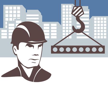 Background on the construction theme. Builder builds the city. Ilustração