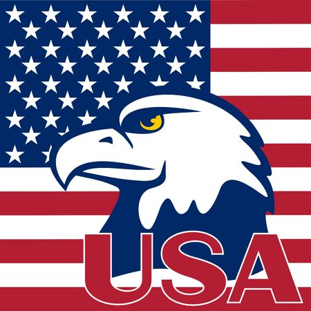 Eagle is located on a flag of the USA. Symbols of the United States.