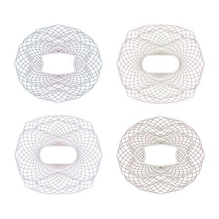 Four Decorative Guilloche Frame. Set on a White Background. Ilustração