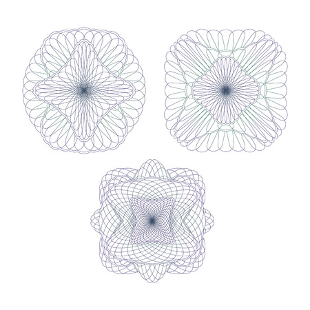 Three Decorative Protective Elements. Set of Guilloche Rosettes on a White Background.