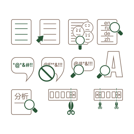 Set of icons on a white background. Icons on the theme of linguistics and language.
