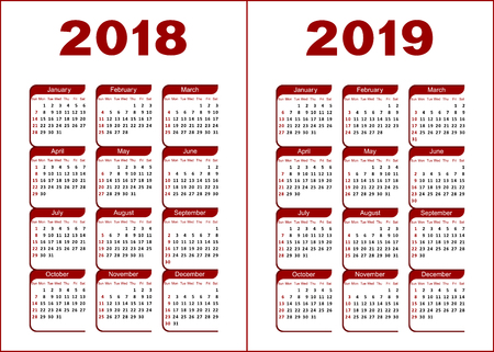 Calendar for 2018, 2019. Red and black letters and figures on a white background.