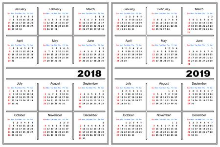 Template of a calendar of white color. A calendar for 2018 and 2019. Ilustração