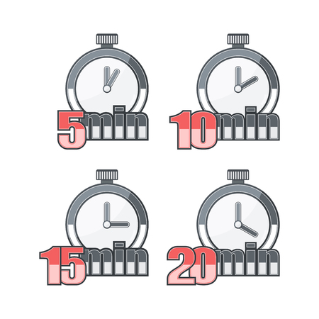 Set of Watch on a White Background. On Watch Time is Determined. 5, 10, 15 and 20 minutes. Ilustração
