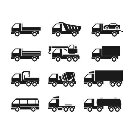 Ensemble d'icônes noires de camions sur fond blanc. Camions de fonction différente.