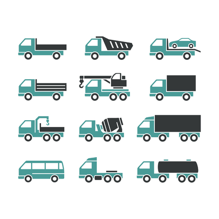 Set of Two Color Icons of Trucks on a White Background. Trucks of Different Function. Ilustração
