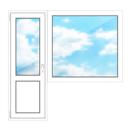 Isolated door and window on a white background.