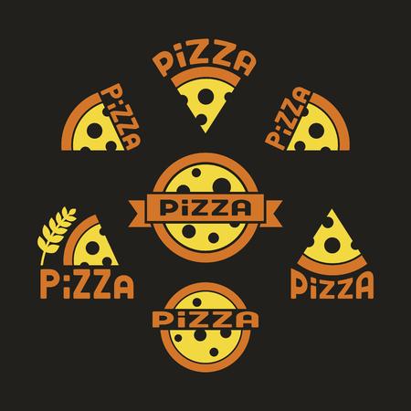 Pizza. Set against a dark background Ilustração