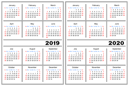 Template of a calendar of white color. A calendar for 2019 and 2020.