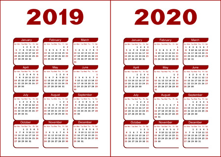 Calendar for 2019, 2020. Red and black letters and figures on a white background.