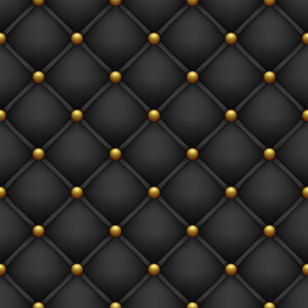 Upholstery with golden buttons. Seamless black background. Illustration