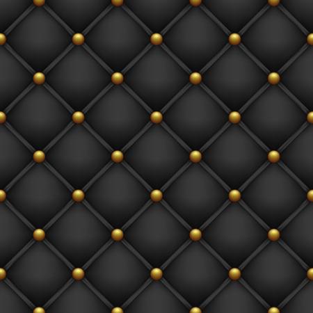 Upholstery with golden buttons. Seamless black background. Ilustração