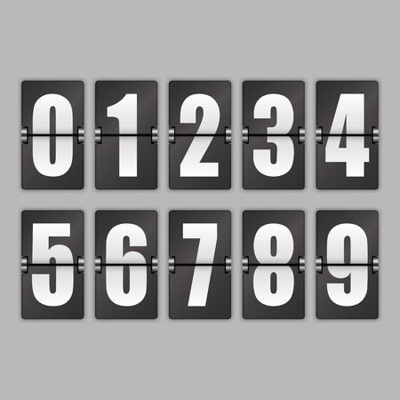 Weiße Zahlen auf schwarzem Hintergrund. Stellen Sie mit Schatten auf einem grauen Hintergrund ein. Vektorgrafik