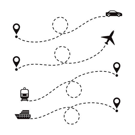 Routes travel different transport. Set of dotted routes on a white background.