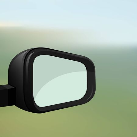 Car rearview mirror on a blurred background. Ilustração