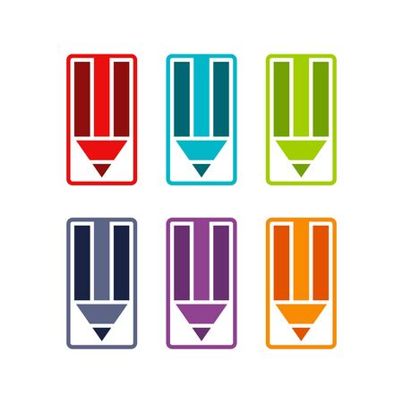 Multicolored icons of pencils. Set on a white background.