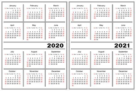 Template of a calendar of white color. A calendar for 2020 and 2021. Ilustração