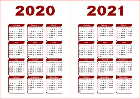 Calendar for 2020, 2021. Red and black letters and figures on a white background.
