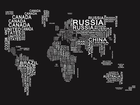 World map. White on a Black background