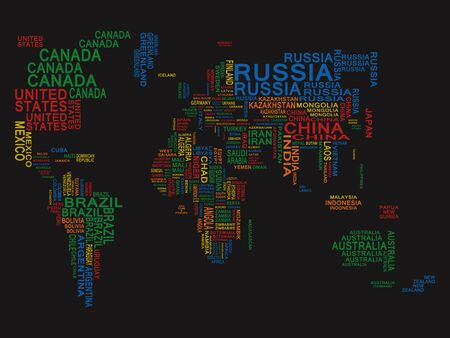 World map. Colored on a Black background