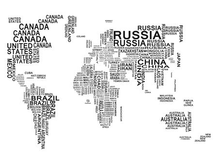 World map. Black on a white background