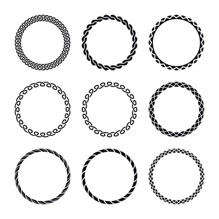Round Curly Frames. Set of Different Frames on a White Background.