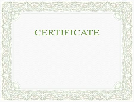 Abstract guilloche frame. Horizontal certificate form.