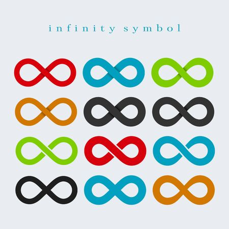 Symbol of Infinity. Set of Different Color Symbols on a Light Background.