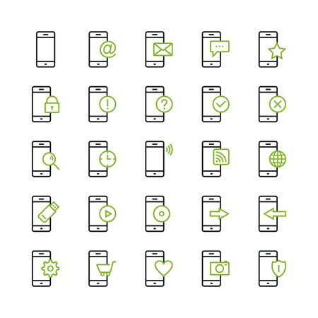 Smartphone Icons. Set of Icons on a White Background. Ilustração
