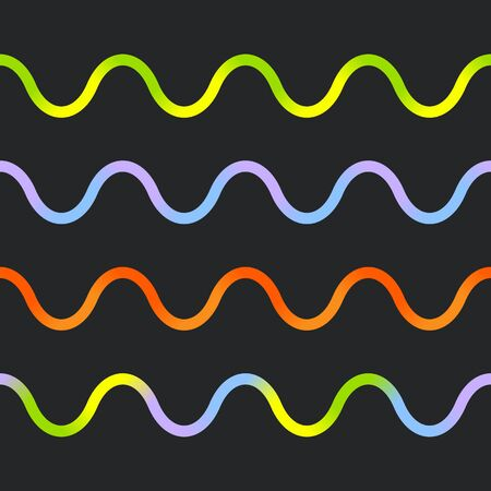 Set of Multicolored Gradient Wavy Lines on a Black Background. Wavy lines are Seamless. Ilustração