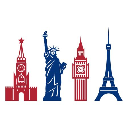 Famous to the Monuments of Russia, the United States, Britain and France. Isolated Objects on a White Background.