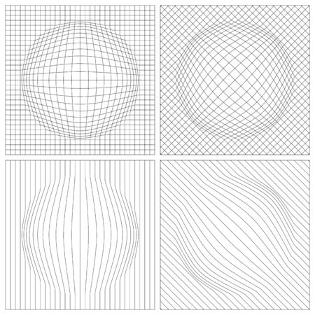 Abstract grid with bulge. Set of black grids on a white background.