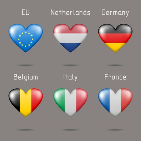 Different flags in heart shaped Ilustração
