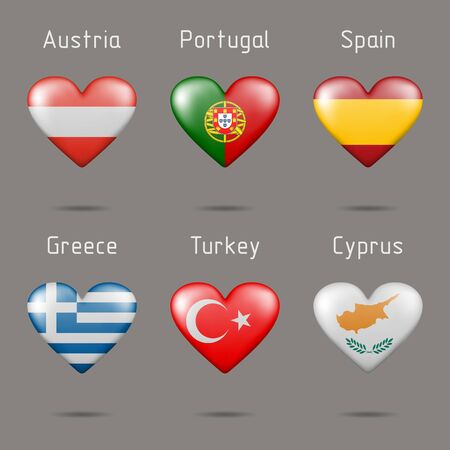 Flags in the shape of a heart