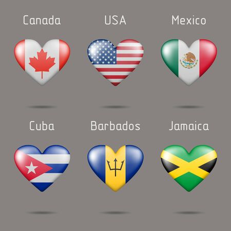 Heart shaped countries of North America flags