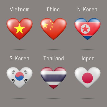 Heart shaped countries of Southeast and East Asia flags