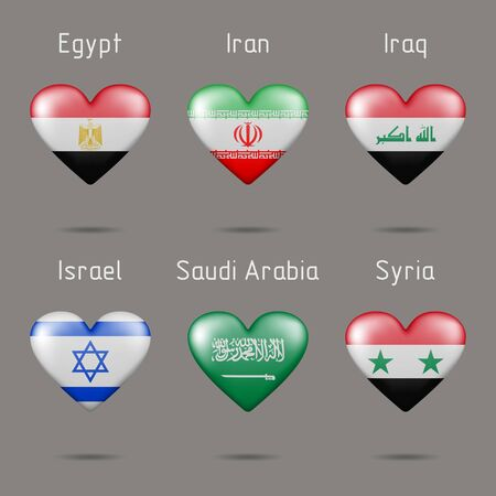 Heart shaped countries of West Asia flags