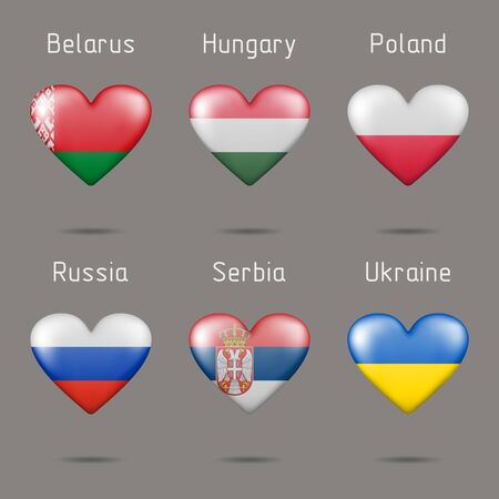 Flags in the shape of hearts