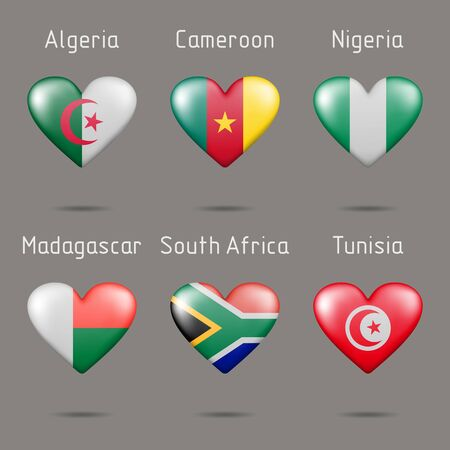 Flags of African countries in the shape of a heart Ilustração