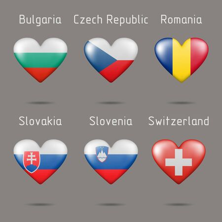 Flags of European countries in the shape of hearts