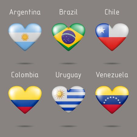 Flags of the countries of South America in the shape of a heart