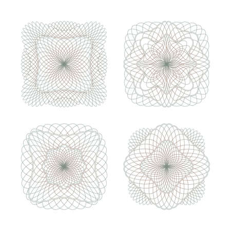 Decorative protective rosettes similar to guilloche. Set on a white background. Ilustração