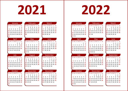 Calendar for 2021, 2022. Red and black letters and figures on a white background. Week starts on Sunday.