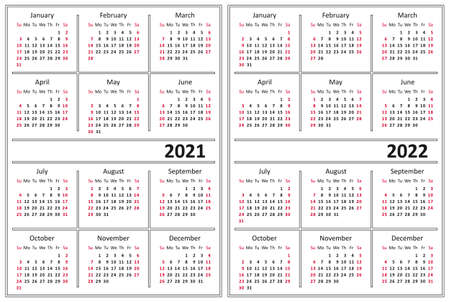 Template of a calendar of white color. A calendar for 2021 and 2022. Week starts on Sunday.