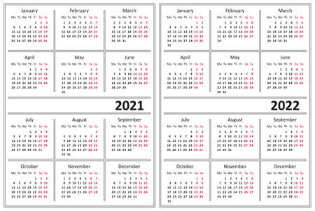Template of a calendar of white color. A calendar for 2021 and 2022. Week starts on Monday.